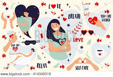 Self Care Icons And Stickers. Love, Self Care, Relax, Slow Life Concept. Cute Girl Hugging Herself.
