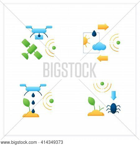 Smart Farm Flat Icons Set. Consist Of Weather Tracking, Drones Photograph, Irrigating Land, Pests An