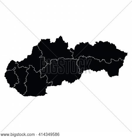 Slovakia Country Map Vector With Regional Areas