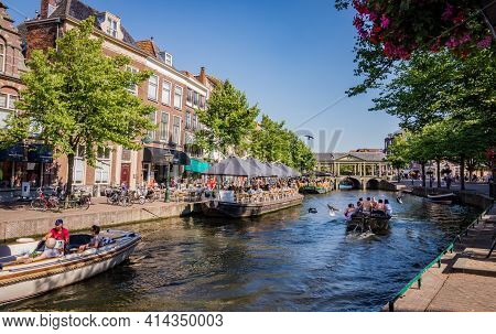 Leiden, The Netherlands - June 27, 2018: Boats With Tourists On Canal On A Sunny Summer Day, City Ce