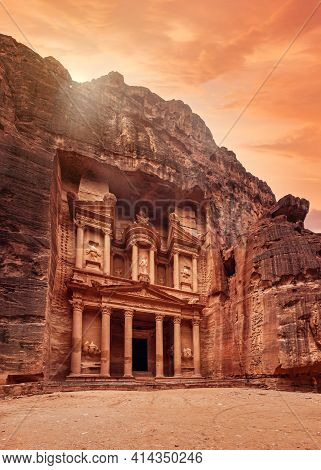 Front Of Al-khazneh Treasury Temple Carved In Stone Wall - Main Attraction In Lost City Of Petra, Or