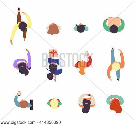 Top View Of Walking People. Set Of Male And Female Characters. Male And Female Characters. Simple St