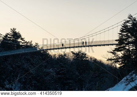 View At The Sunset Of The Pedestrian Bridge Of The Park Of The Chaudiere Falls At Levis.