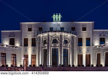 Belgrade, Serbia - March 25, 2021: Embassy Of France In Belgrade, Serbia At Night