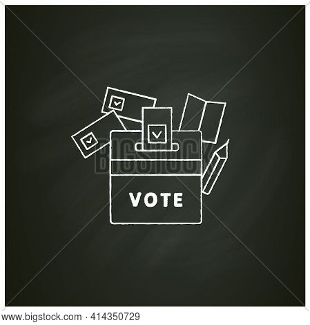 Vote Box Chalk Icon. Voting Form With Check Mark In Ballot Box. Choice, Vote Concept. Democracy. Par