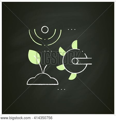 Soil Tilling Chalk Icon. Agricultural Preparation Of Soil By Mechanical Agitation. Using Digging, St