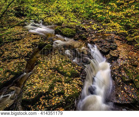 Small Waterfalls In The Moness Gorge At The Birks O Aberfeldy In The Perthshire Countryside, Scottis