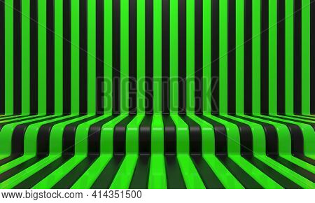 Realistic Abstract Geometric Background With Black And Green Convergence Stripes With Shadows And Gl