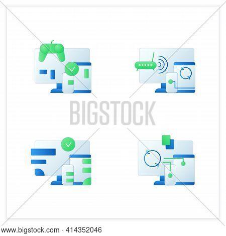 Cross Platform Flat Icons Set. Programming Environment. Playing, Multiplayer, Design, Files Syncing.