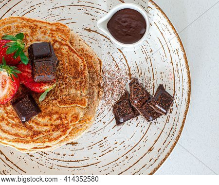 American, Nourishment. Chocolate Cake On A Plate