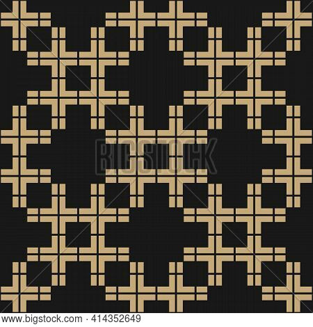 Vector Abstract Geometric Seamless Pattern. Golden Texture With Squares, Grid, Net, Mesh, Lattice. S