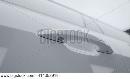 Close-up Of New Car Door Handle. Action. Luxury Exterior Handle Design Of New Car Model. Handle On D