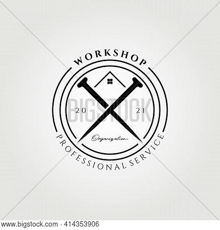 Workshop Carpenter Logo Vector Illustration Design Ssimple Workshop