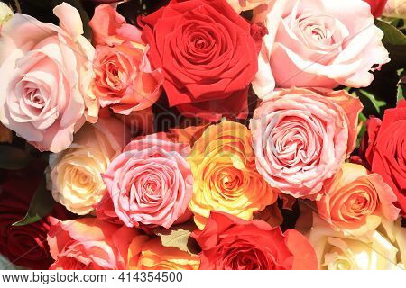 Wedding Flowers: Roses In Various Bright Colors