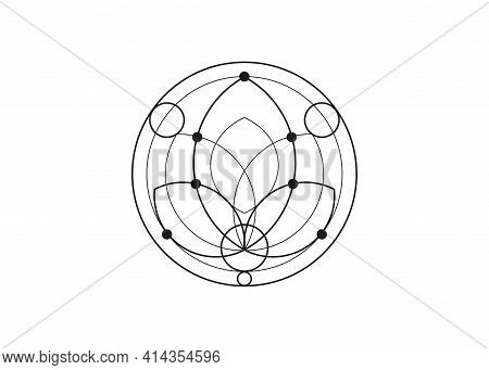 Seed Of Life Lotus Symbol Sacred Geometry. Logo Icon  Geometric Mystic Mandala Of Alchemy Esoteric F