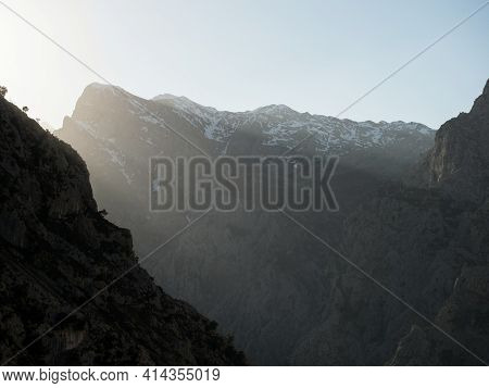Summit Panorama View Of Picos De Europa Mountain Range In Gorge Valley Canyon Hiking Trail Path Rout