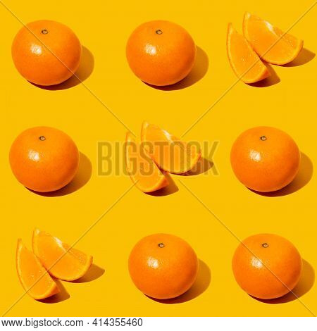 Tic Tac Toe Sweet Fruit Game. Fresh Mandarine Seamles Fine Pattern. Ripe Fruit Tangerines. Fresh Cit
