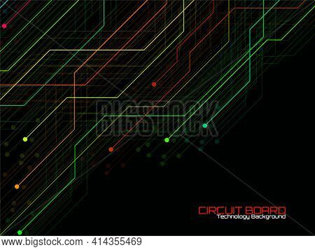 High-tech Background With Circuit Board, Technology Design. Vector Illustration
