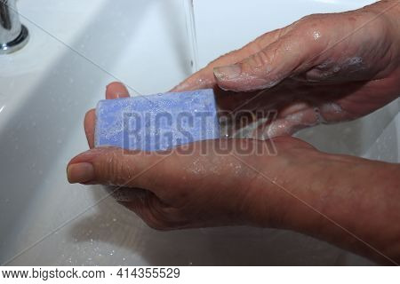 Man Washing Hands, Rubbing With Soap As A Corona Virus Prevention. Hygiene Is Important To Stop Covi