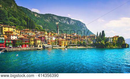 Varenna Town In Como Lake District. Italian Traditional Lake Village. Italy, Europe.