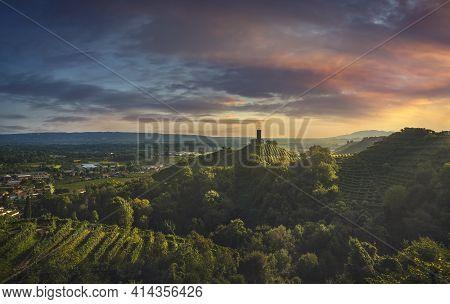 Prosecco Hills, Vineyards And San Lorenzo Church At Sunset. Unesco Site. Farra Di Soligo. Veneto, It