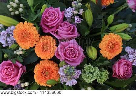 Pink And Orange Mixed Floral Arrangement Roses And Gerberas