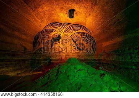 Abandoned Prospecting Mine With Boring Machine Traces