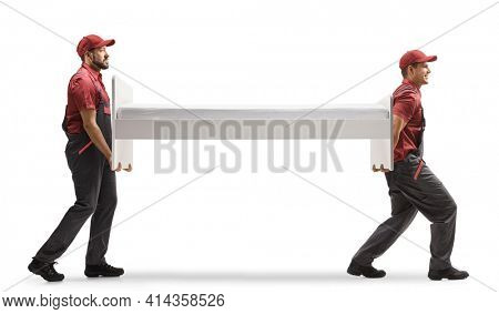 Movers carrying a single bed isolated on white background