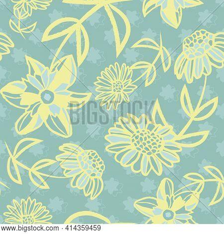 Vector Yellow Greenish Flowers Seamless Pattern Print