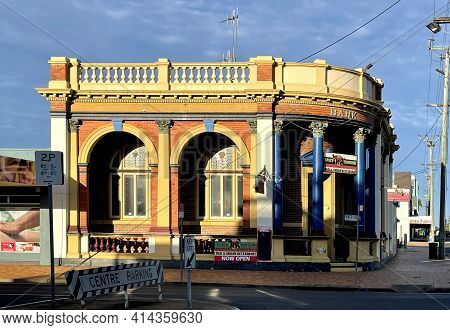 Bundaberg, Australia - March 1, 2021: View Of The Old Union Bank Of Australia Building, Built In 191