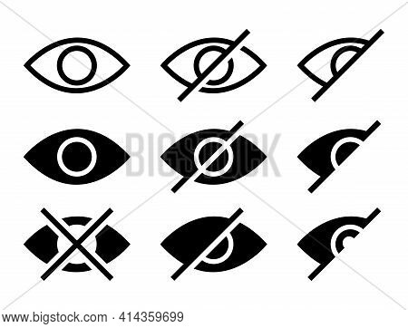 Eye Cross Icon Set. View Hidden Icons Symbol. Privacy And Block Symbol. Eyesight Pictogram In Flat D
