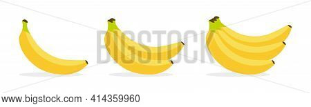 Bananas Vector Illustration. Yellow Fruit Banana. Tropical Fruits Isolated Icons Set. Banana Bunch C