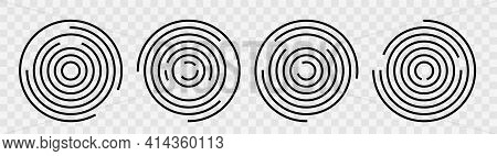 Concentric Circle Geometric Vector Elements. Abstract Round Swirl Line Background For Your Design. V