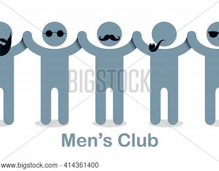 Man Day International Holiday, Gentleman Club, Male Solidarity Concept Vector Illustration Icon Or G