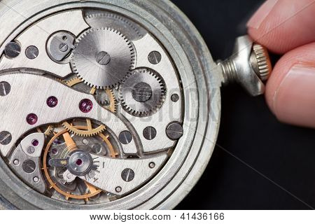 Winding Up Old Clock Mechanism