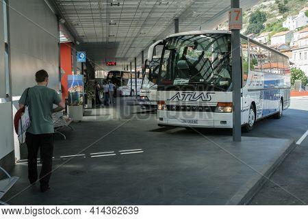Dubrovnik, Croatia - April 22, 2007: Departures Platform Of Autobusni Kolodvor, The Main Bus Station