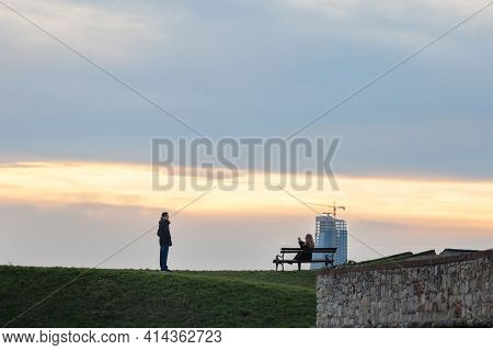 Belgrade, Serbia - January 1, 2021: Couple, Lovers, Tourists Taking Pictures And Posing In The Kalem