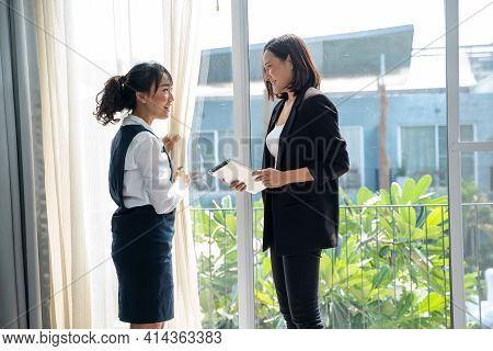 Housekeeping Manager With Tablet Checking Maid Work In Hotel Room,hotel Manager Controlling How Maid