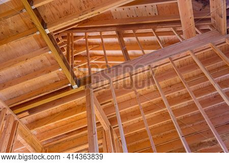 Frame House Roof Of House Attic Under Construction Unfinished Frame Wooden Beams