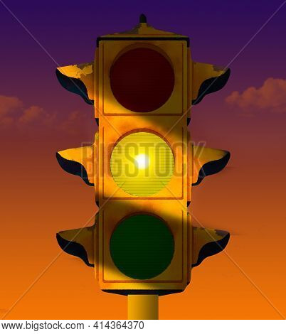 A Yellow Caution Light Is Glowing On This Old And Rusty Traffic Light. This Is A 3-d Illustration On