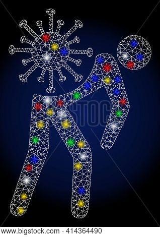 Flare Mesh Virus Carrier With Constellation Effect. Abstract Illuminated Raster Model Of Virus Carri