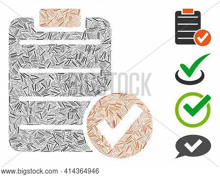 Line Collage Apply Form Icon Organized From Narrow Items In Various Sizes And Color Hues. Linear Ite