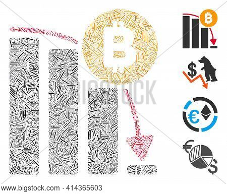 Line Collage Bitcoin Panic Fall Chart Icon United From Thin Elements In Various Sizes And Color Hues