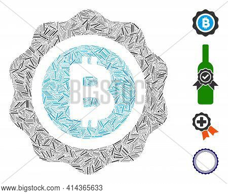 Hatch Collage Bitcoin Seal Icon Composed Of Narrow Elements In Various Sizes And Color Hues. Irregul