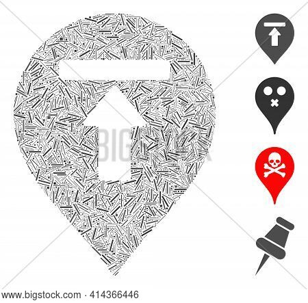 Linear Mosaic Dead End Marker Icon Organized From Thin Items In Various Sizes And Color Hues. Linear