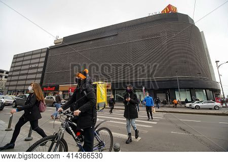Bucharest, Romania - March 25, 2021: Bershka Store In Unirea Shopping Center Placed In The The Busie