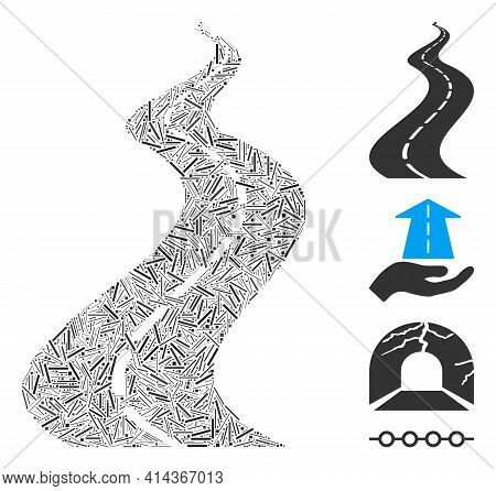 Line Collage Far Way Road Icon Designed From Thin Elements In Different Sizes And Color Hues. Line I