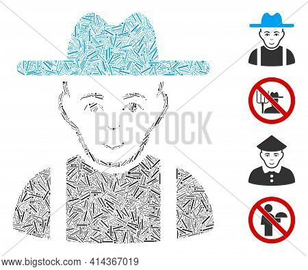 Hatch Collage Farmer Guy Icon Designed From Straight Elements In Various Sizes And Color Hues. Irreg