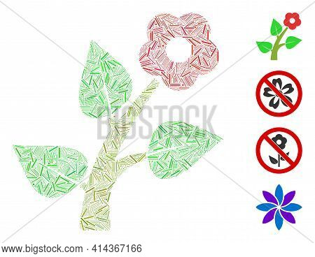 Hatch Collage Flower Plant Icon Composed Of Thin Items In Different Sizes And Color Hues. Irregular