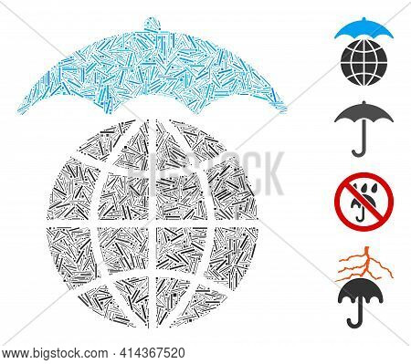 Hatch Collage Global Umbrella Icon Composed Of Narrow Items In Various Sizes And Color Hues. Irregul